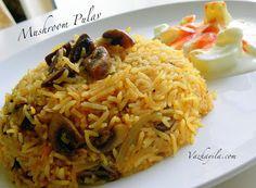 Ingredients:-  Basmati Rice - 2 cup  Mushroom - 250 gm  Onion chopped - 2  Ginger and garlic crushed - 2 1/2 tsp  Turmeric powder - 1/4 tsp...