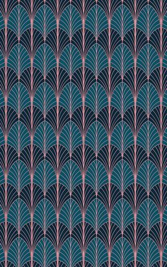 Style a unique space that's inspired by the sophisticated style of Art Deco with this Art Deco Palm Wallpaper. Palm Wallpaper, Art Deco Wallpaper, Luxury Wallpaper, Pattern Wallpaper, Art Deco Logo, Estilo Art Deco, Deco Blue, Blue Art, Art Deco Design