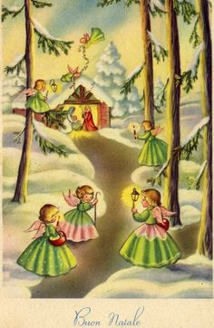 Miss Jane: Christmas Cards 1958- I LOVE this-- reminds me of some of the antique christmas figurines I have