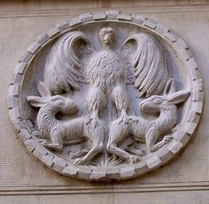 """Circular reliefs called """"patere"""" are considered apotropaic. They are mainly found in Venice and were popular between the 11th and 14th centuries. They show symbolic virtues devouring symbolic vices! For more read Michelle Lovric's post on the History Girls blog: http://the-history-girls.blogspot.co.uk/2014/09/whats-biting-venice-michelle-lovric.html"""