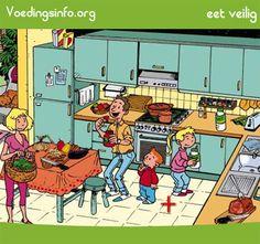 voedingsinfo.org | Eet veilig - spel waarbij je de onveilige situatie in verschillende prenten moet detecteren.