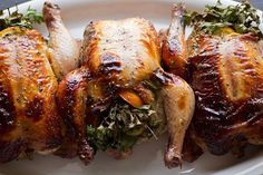 Christmas Menu : Sweet Citrus And Herb Bouquet-Stuffed Cornish Game Hens With Orange Marmalade Glaze Cornish Hen Recipe, Cornish Game Hen, Cornish Hens, Relleno, The Fresh, Dinner Recipes, Dinner Ideas, Carne, Chicken