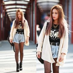 Sheinside Shorts, Choies Top, St Frock Cardigan