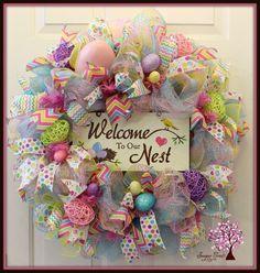 Easter Wreath Door Wreath Easter Deco Mesh by SugarTreeDecor