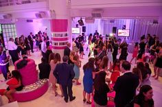 Bat Mitzvah at 404 NYC, Guests Watching Montage {Party Planner: The Event of a Lifetime} - mazelmoments.com