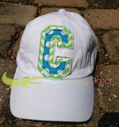Raggy Applique Letter Baseball Hat Cap by TheSassyGator on Etsy, $22.00