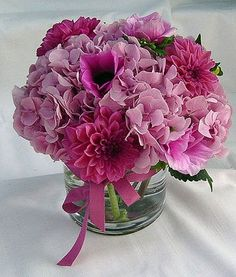 pink hydrangea & dahlias cp? or roses? -- wrap with lace and rhinestones on the outside