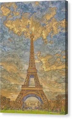 A.I. Collection Eiffel Tower Sunset - Canvas Print - 9.5 x 14 / Mirrored / Matte