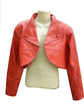 Ladies Red Leather Bolero Jacket New All Sizes