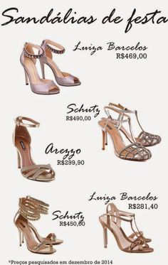 Madrinhas de casamento: Sandálias de festa metalizadas!