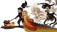 Cerberus, Hades, Persephone, Macaria and Melinoe.