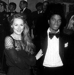 Meryl Street and Michael Jackson at Academy Awards 1979 - Meryl used this dress again in 2009 - black and white - preto e branco Paris Jackson, Jackson Family, Jackson 5, King Of Music, The Jacksons, Meryl Streep, Comedians, My Idol, Actors & Actresses