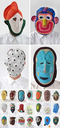 Dutch designer Bertjan Pot has a fascination for textiles and materials in general. Cardboard Mask, Creation Art, Art Sculpture, Textiles, Masks Art, Arts Ed, Art Plastique, Oeuvre D'art, Textile Art