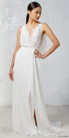 ivy aster fall 2017 bridal sleeveless deep v neck blouson drape simple bodice  elegant grecian sheath wedding dress cowl back chapel train (heron) mv -- Ivy
