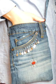 Cross Body Bag with Beads Recycled Denim Jeans Small by Zembil