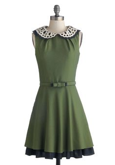 Evening Debut Dress, #ModCloth #partypin this green with the Peter Pan collar is to dine for
