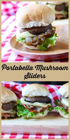Portabella Mushroom Sliders with Maple Caramelized Onions, creamy Oka cheese, and Canadian Back Bacon are a perfect appetizer for the grill.