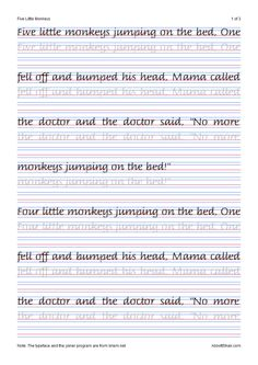 Five Little Monkeys Italic Handwriting Worksheets you...
