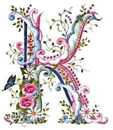 pink blue flower letter K Embroidery Alphabet, Ribbon Embroidery, Embroidery Stitches, Embroidery Designs, Fancy Letters, Floral Letters, Monogram Letters, Graphic 45, Decoupage