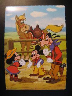 1966...Old Vintage Walt Disney Postcard: Goofey, Mickey and Minnie Mouse...