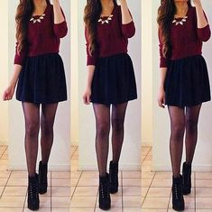 Black skirt. Red shirt. Black leggings