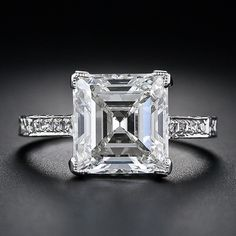 Carat Edwardian Square-Cut Diamond Ring This astonishingly beautiful, original Edwardian diamond ring, circa gleams with a gorgeous square step-cut, or emerald-cut, diamond Square Cut Diamond Ring, Diamond Rings, Diamond Cuts, Silver Drop Earrings, Gemstone Earrings, Pearl Earrings, Antique Jewelry, Vintage Jewelry, Vintage Rings