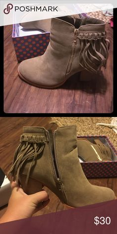 Light Tan Fringe Booties Never worn simply because my work requires me to walk too much. Super cute with gold zipper. Shoes Ankle Boots & Booties