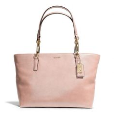 I can't WAIT for spring!!! The Madison East/west Tote In Leather from Coach: Peach rose