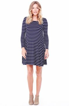Ingrid & Isabel® Ingrid & Isabel Striped Maternity Trapeze Dress available at #Nordstrom