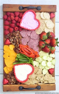 Valentine's Day Charcuterie Board - Joy in the Commonplace - Are you looking for healthy snack ideas for Valentine's Day? You could put together a healthy cha - Valentines Day Food, Valentines For Kids, Valentine Day Dinner Ideas, Valentinstag Party, Charcuterie Recipes, Charcuterie And Cheese Board, Holiday Treats, Holiday Recipes, Party Food Platters