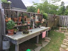 The potting bench my husband made for me