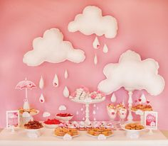 Showered With Love: {Part 2: Brunch & Beverages} // Hostess with the Mostess®  Pink umbrella  Girl theme baby shower