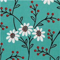 turquoise flower fabric Michael Miller USA - Flower Fabric - Fabric