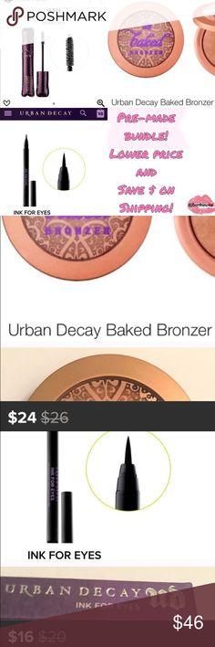 Essentials Bundle Pre-Made! Urban Decay Bronzer + Urban Decay Ink for Eyes in black + Tarte Lights Camera Action black mascara! • All of your every day essentials covered- at a lower price! • Amazing value of great highly sought after items!• All are brand new & full size✨Custom-made bundle to wear every day✨ Urban Decay Makeup
