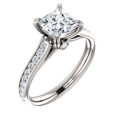 1.69 CTW PRINCESS CUT DUAL CLAW PRONG ACCENTED CATHEDRAL DESIGN ENGAGEMENT RING IN SOLID 14K GOLD - Michael Shea Diamonds Inc.
