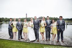 Corolla Chapel Wedding, OBX Wedding, Outer Banks Wedding, Whalehead Club Wedding, Bridal Party, Anthropology Bridesmaid Dresses, Bridesmaids, Groomsmen, Yellow Bridesmaid Dresses