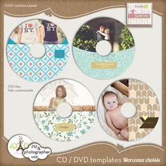A beautiful set of 4 CD / DVD labels templates perfect to present your clients with their digital images.      This set is fully customizable, consisting of layered PSD files to easily change the look or like your logo.    includes psd files