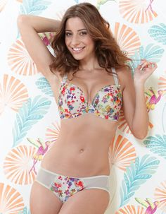 b13810652fe53 Satine In Bloom Bra in Ivory Floral by Bravissimo. This watercolor print is  beautiful!
