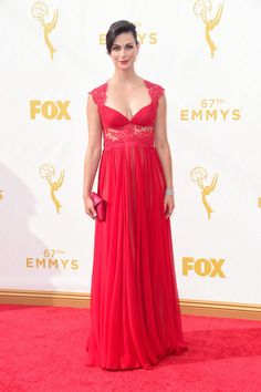 Morena Baccarin in Reem Acra at the 2015 Emmy Awards