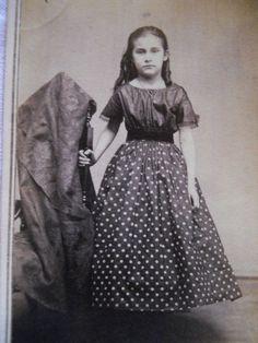 Beautiful Girl~Polk a Dot Hoop Dress~Antique Civil War Era CDV Photo~Peoria IL