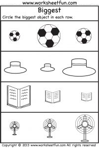 Preschool Worksheets - Biggest and Smallest