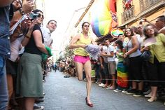 Running the famous high heels race at Gay Pride Madrid
