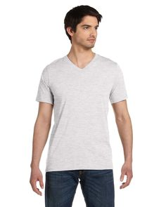 dad9ff469f7 Bella + Canvas Jersey Short-Sleeve V-Neck T-Shirt in Ash