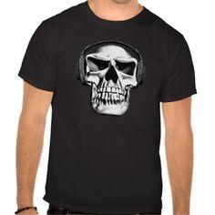 Skull Rock T Shirts. Skull wearing headphones