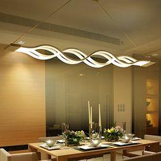 KJLARS LED Pendelleuchte, esstisch Hängelampe Wohnzimmer Küche LED-Pendellampe Moderne Aluminium Hängeleuchte ,höhenverstellbar,Pendellänge maximum 120 cm,Warm white