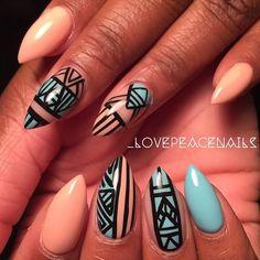 nude tan stiletto long nails black sky blue nail art design queen