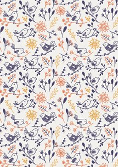 Wawani Birds is a wonderfully vibrant nursery wallpaper. Light, loose and relaxing this adorable wallpaper is perfect for a gender neutral nursery. Bird Patterns, Pretty Patterns, Textile Patterns, Beautiful Patterns, Fall Patterns, Floral Patterns, Design Patterns, Prints And Patterns, Surface Pattern Design
