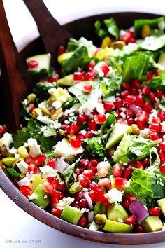 Pomegranate, Pear And Avocado Salad http://www.changeinseconds.com/pomegranate-pear-and-avocado-salad/ #glutenfree #vegetarian