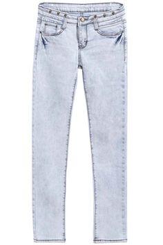 Light Blue Bleached Button Denim Pants 9.83