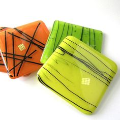 Fused Glass Coasters Bright Lemon Vibrant by nanettebevan